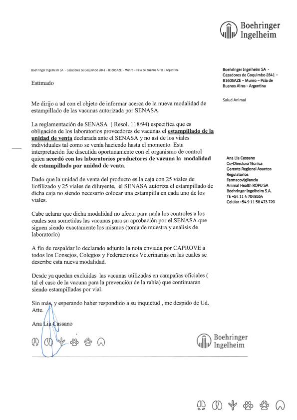 Comunicado - Estampillado de Vacunas